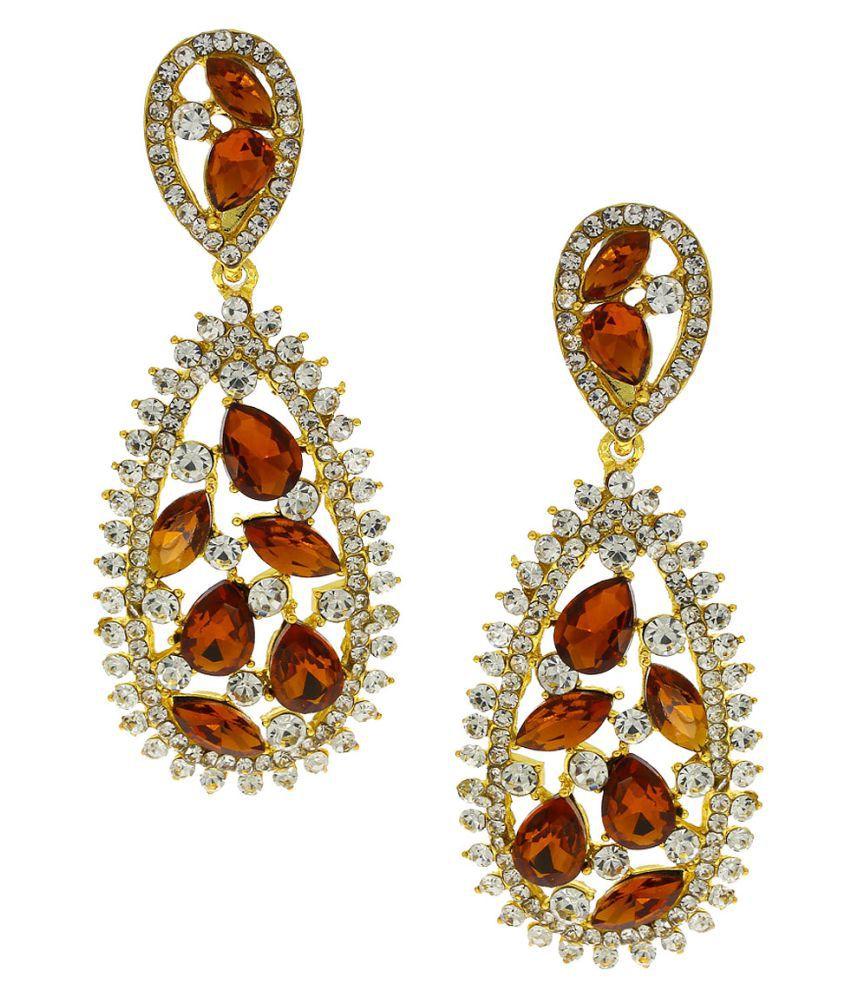 Anuradha Art Golden Finish Brown Colour Studded Shimmering Stone Party Wear Long Fancy Earrings For Women/Girls