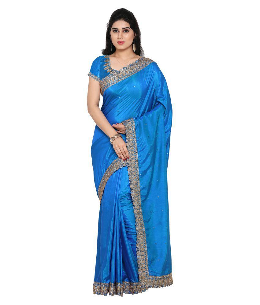 Apple Creation Turquoise Silk Saree