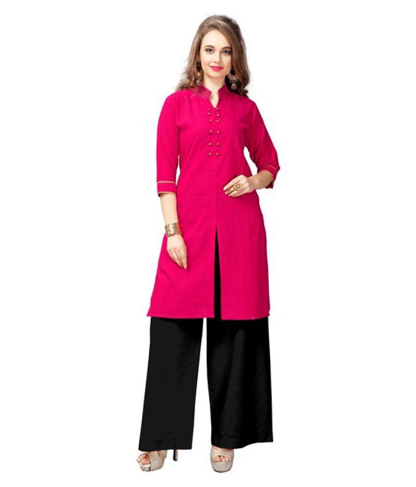 Fashionsurat Pink Cotton Straight Kurti