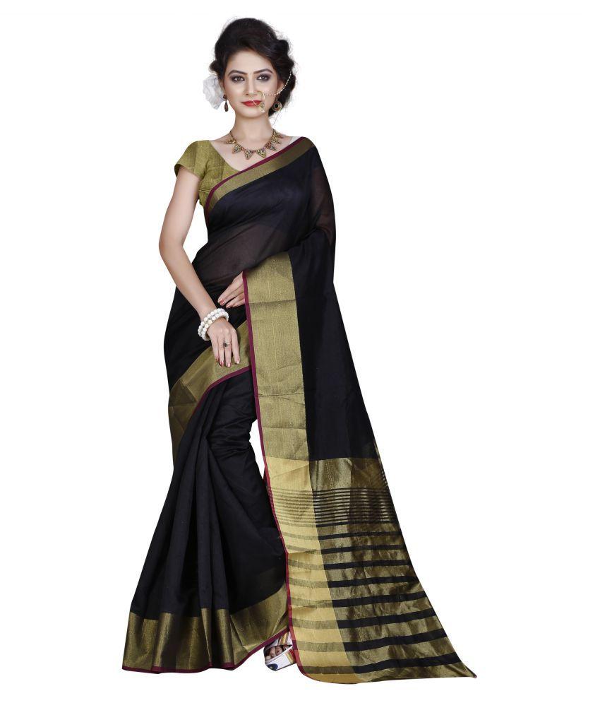 High Glitz Fashion Black Cotton Saree
