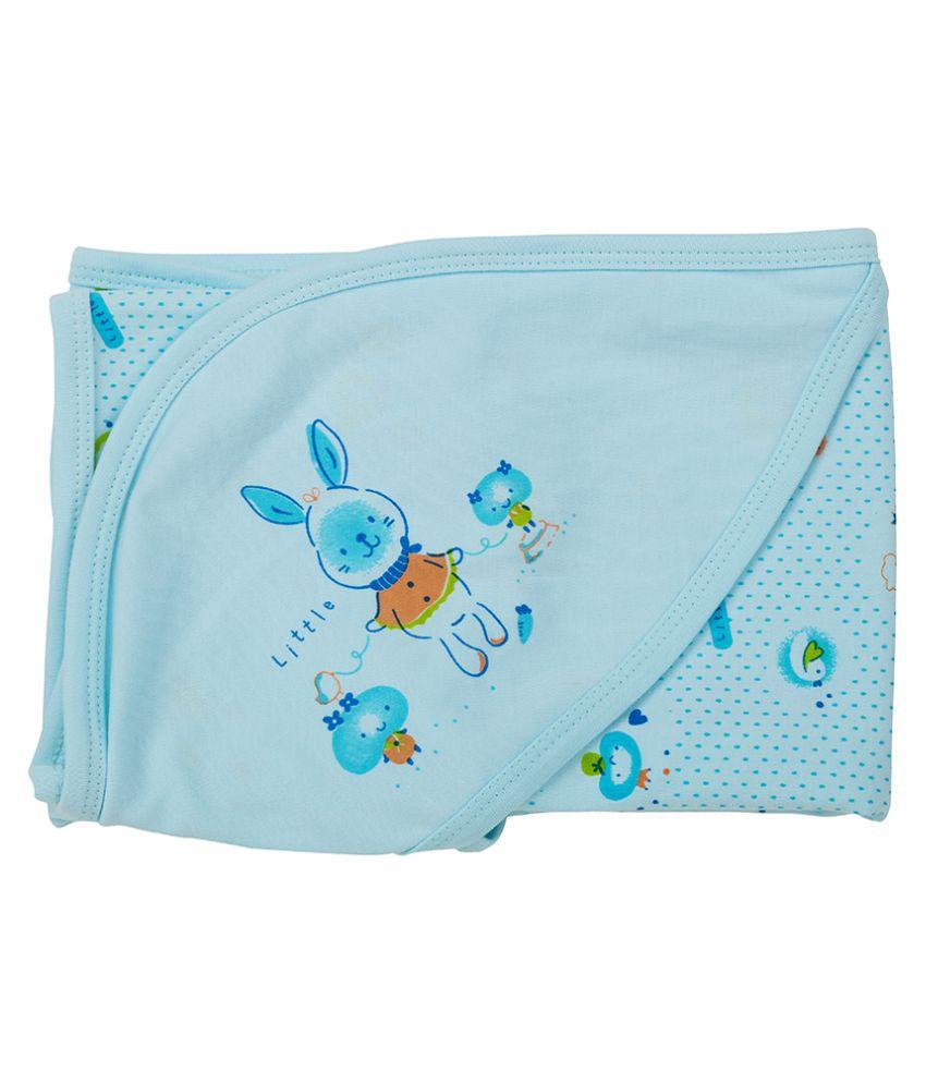 SIMPLY Blue Cotton Baby Wrap cum blanket ( 58 cm × 60 cm - 1 pcs)