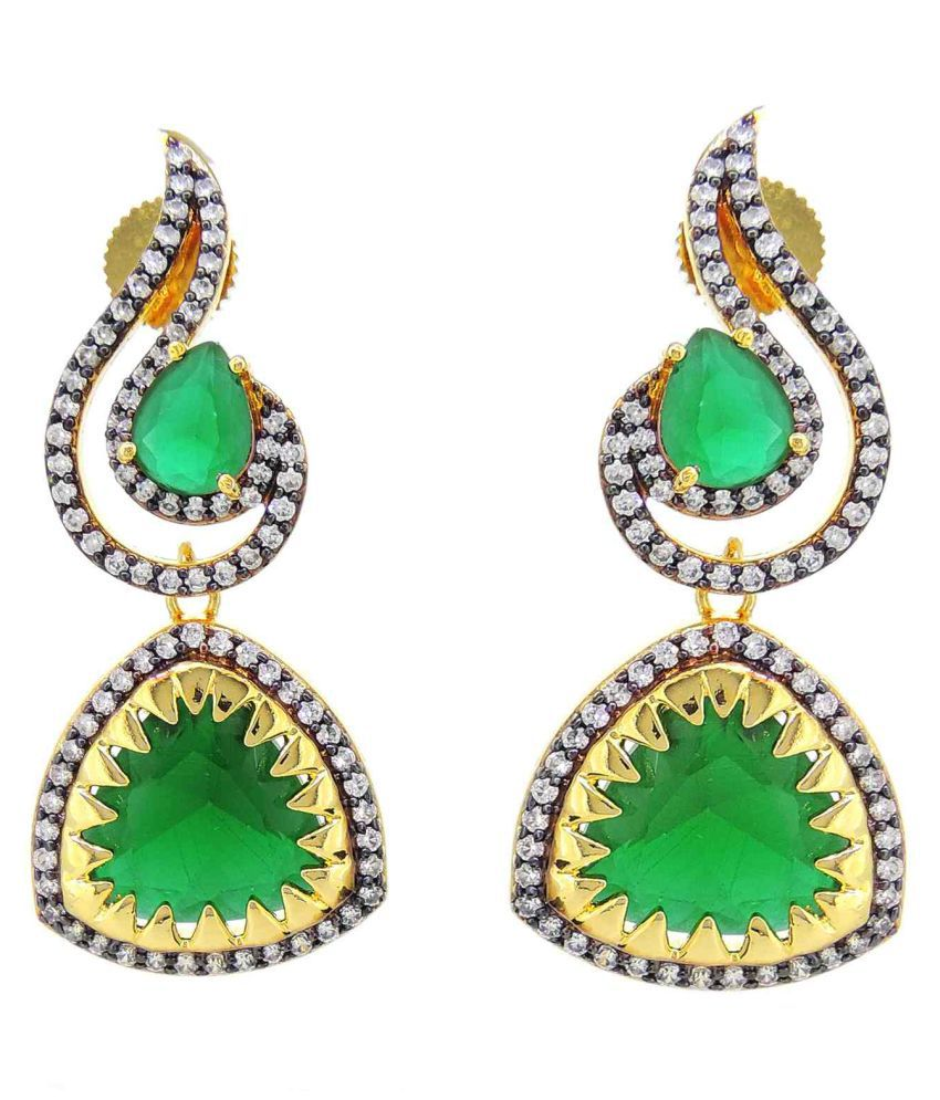 Contemporary American Dimonds Colored Stones Desginer Stylish Party Wear Dangler Earring For Girls / Women