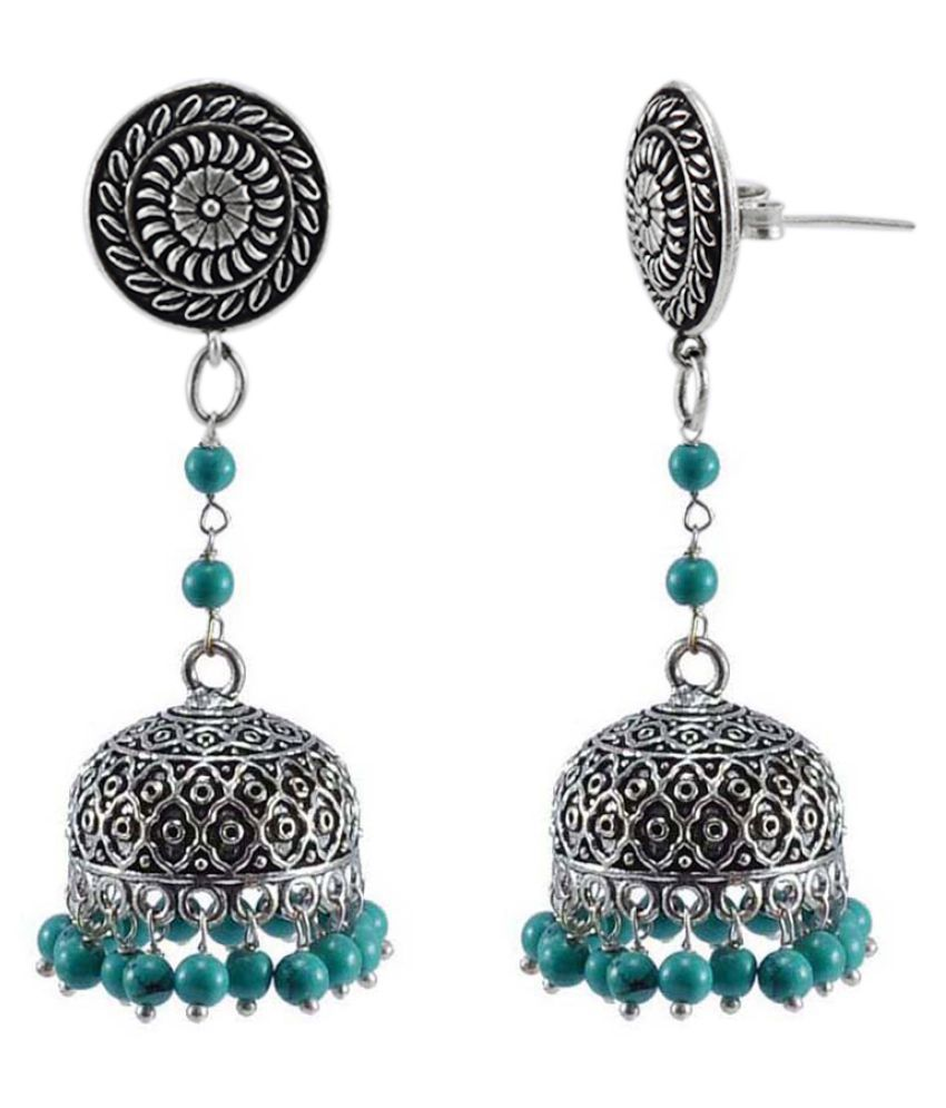 Indian Jewelry-Reconstituted Turquoise And Round Jhumki Earrings-Hand Crafted Jewellery By Silvesto India PG-114013