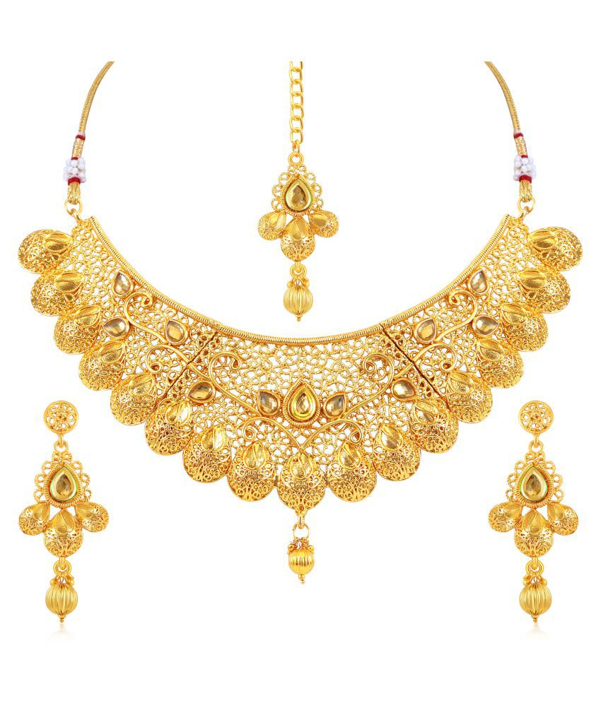 Antique Gold N Jadtar Set: Sukkhi Traditional Gold Plated Kundan Choker Artificial