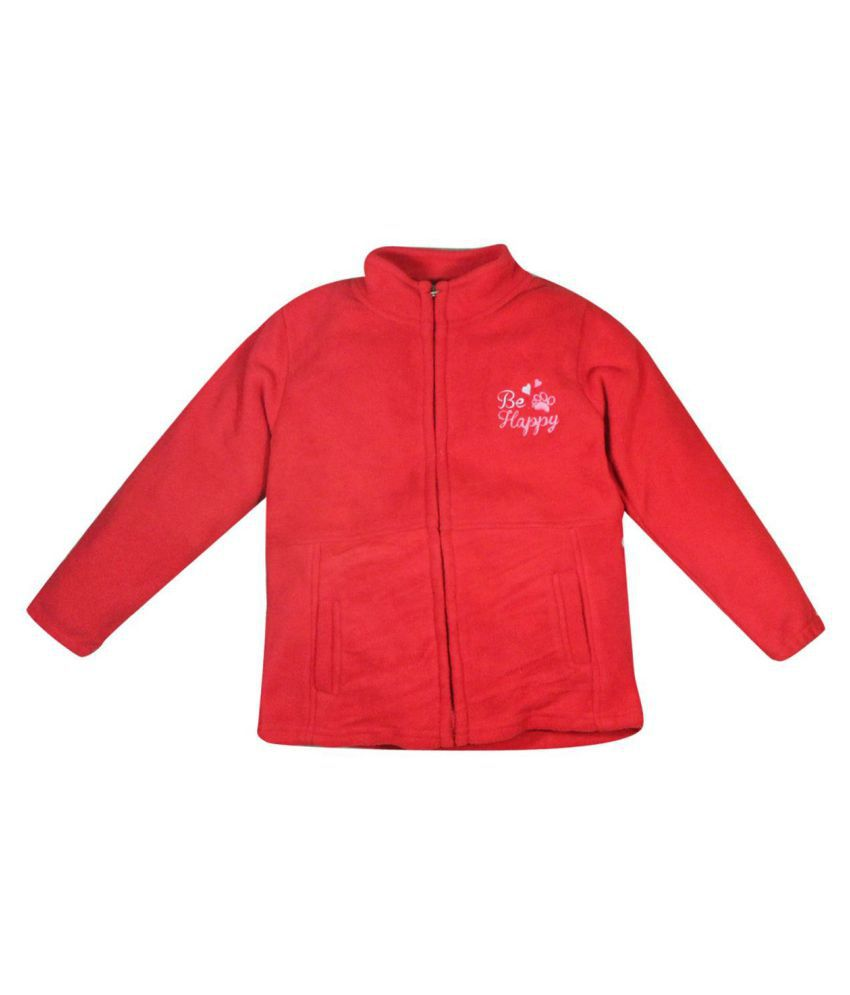 FS MiniKlub Girl's High Neck Full Sleeve Jacket-Red R