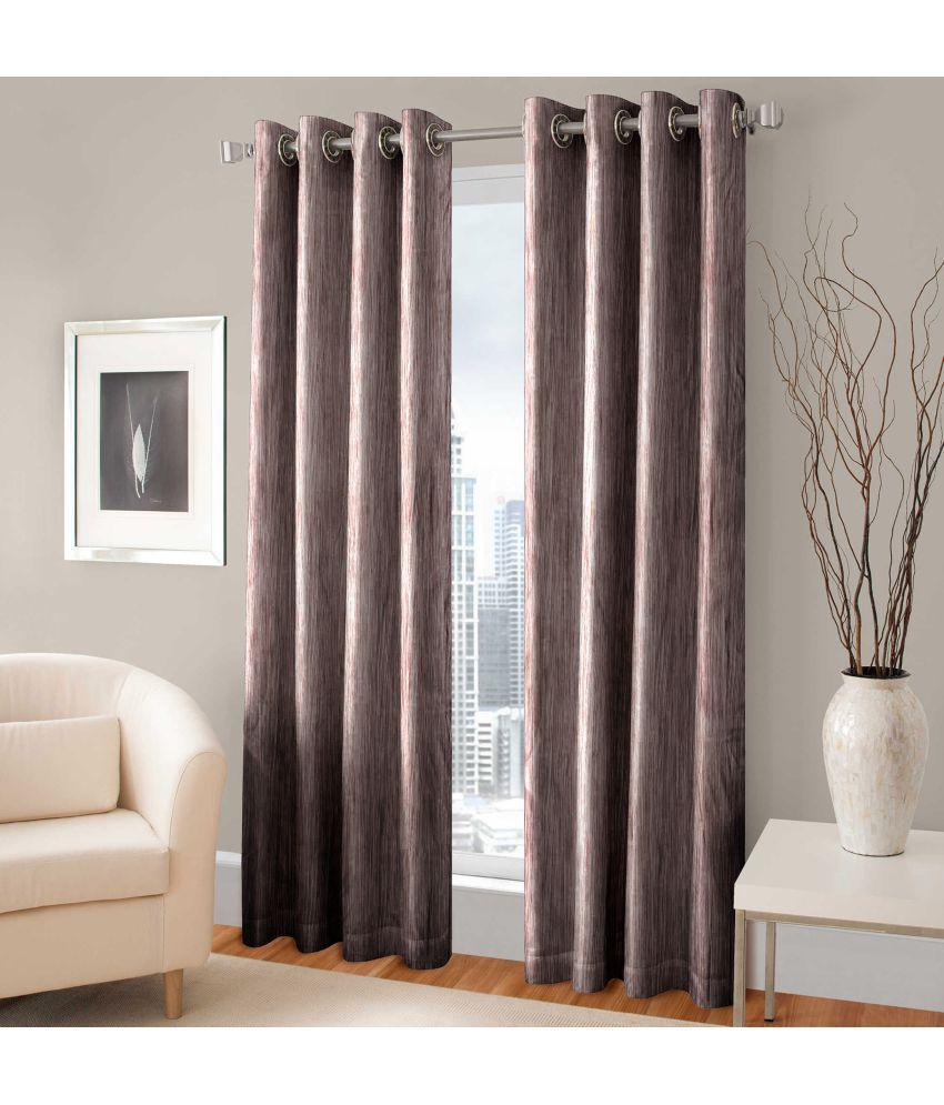 Shri Shyam furnishing Set of 2 Door Eyelet Curtains Plain Coffee