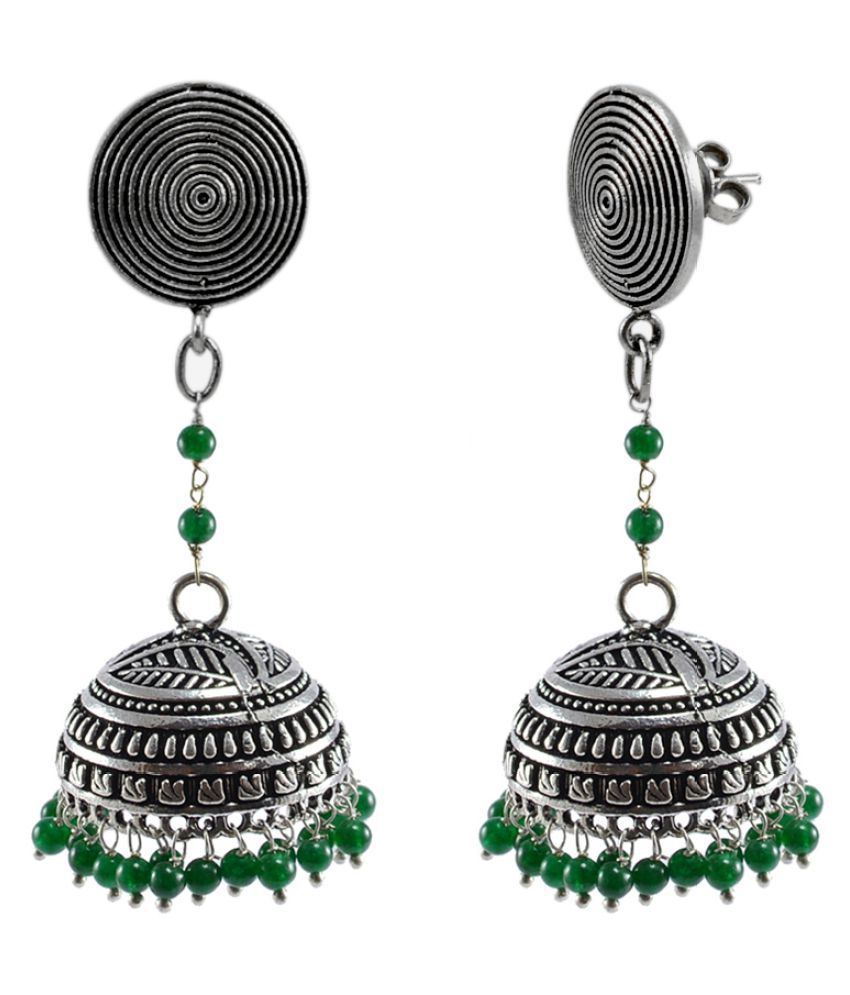 Silvesto India Emerald Green Quartz Round Studs Jhumka-Indian Jewellery-Traditional Earrings PG-114403