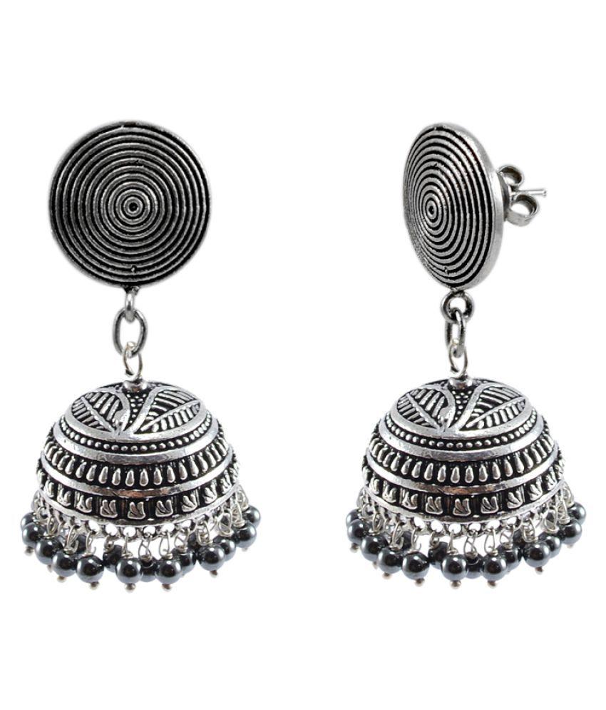 Silvesto India Temple Round Jhumki Earrings With Hematite Beads-Indian Garba Festival Jewellery PG-114495