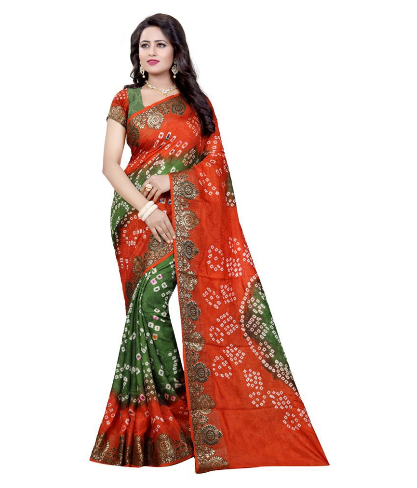 The mammoth Store Orange Art Silk Saree