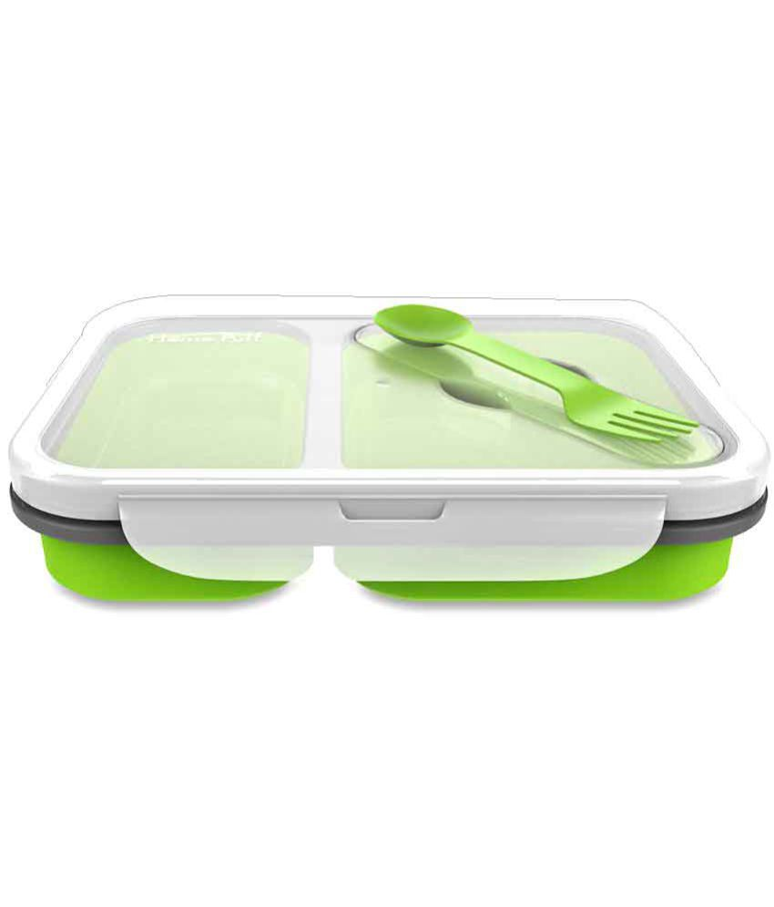Home Puff Green Polypropylene (PP) Lunch Box