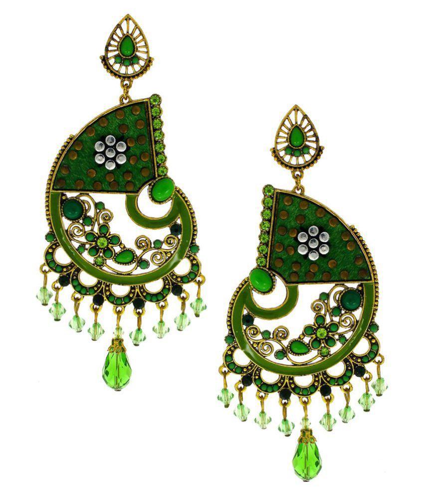 Anuradha Art Green Colour Designer Classy Studded Shimmering Stone Party Wear Fancy Long Earrings For Women/Girls
