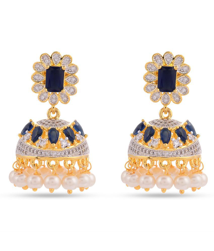 Floral American Diamonds Colored Stones Desginer Stylish Party Wear Jhumki / Jhumka Earring For Girls / Women