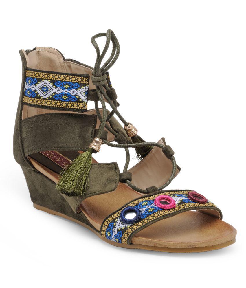 Flat n Heels Green Wedges Heels