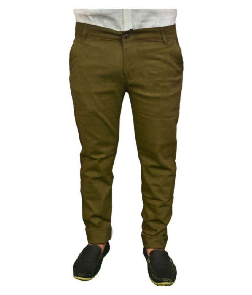 REDMAPLEJEANS Green Regular -Fit Flat Chinos