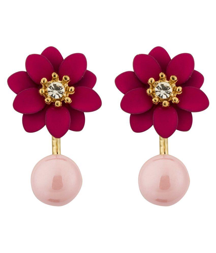 Jewels Galaxy Exclusive Luxuria Limited Edition AAA AD Floral Design Magnificent Pair Of Dark Pink Earrings For Women/Girls