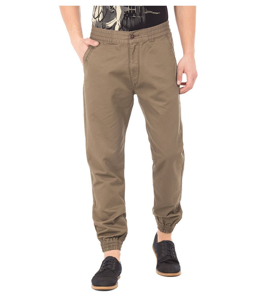 U.S. Polo Assn. Dark Brown Slim -Fit Flat Trousers