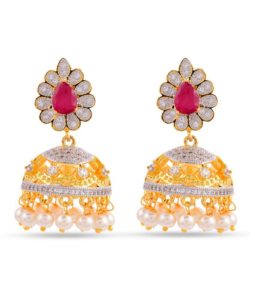 Floral American Dimonds Colored Stone Desginer Stylish Party Wear Jhumki / Jhumka Earring For Girls / Women