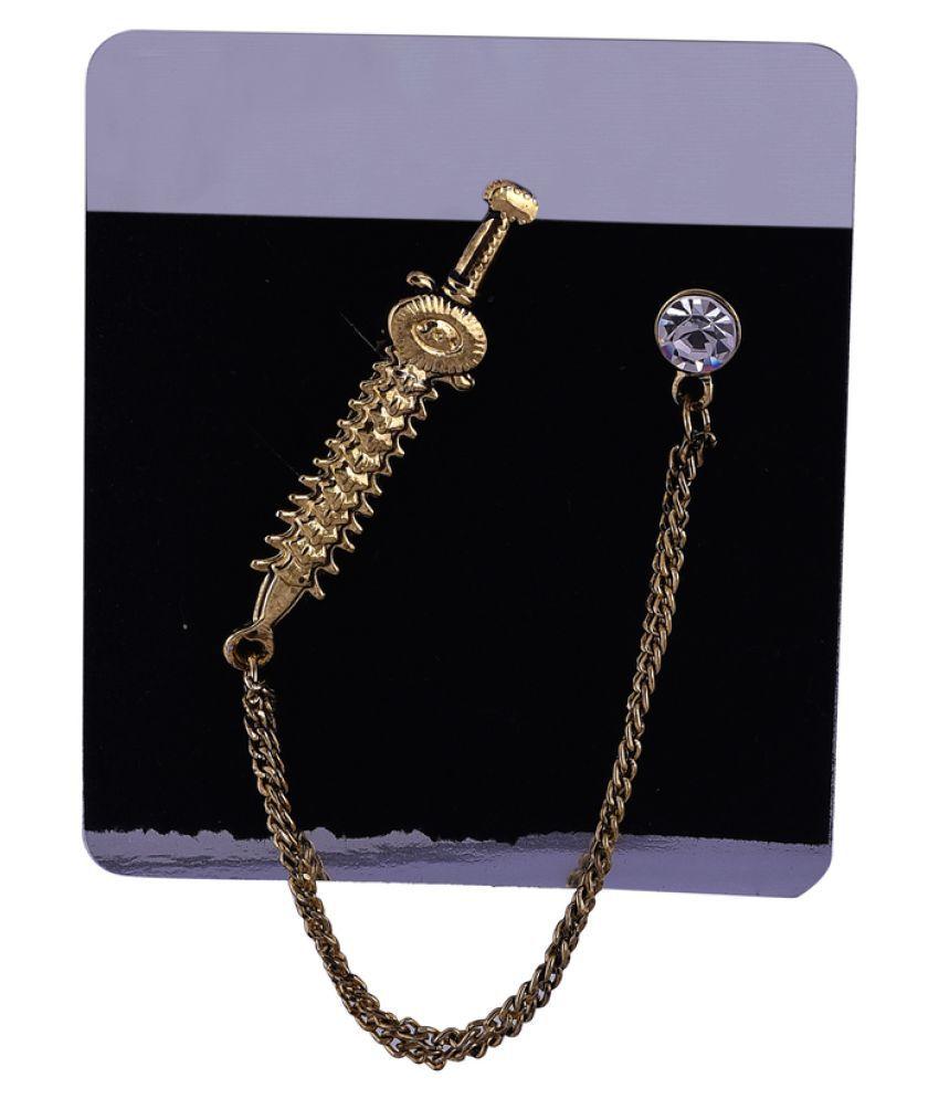 Veera Paridhaan Stylish  Gold Hanging Chain Brooch for Men