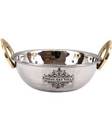 Stainless Steel Kadhai With Brass Handle - 632274440297