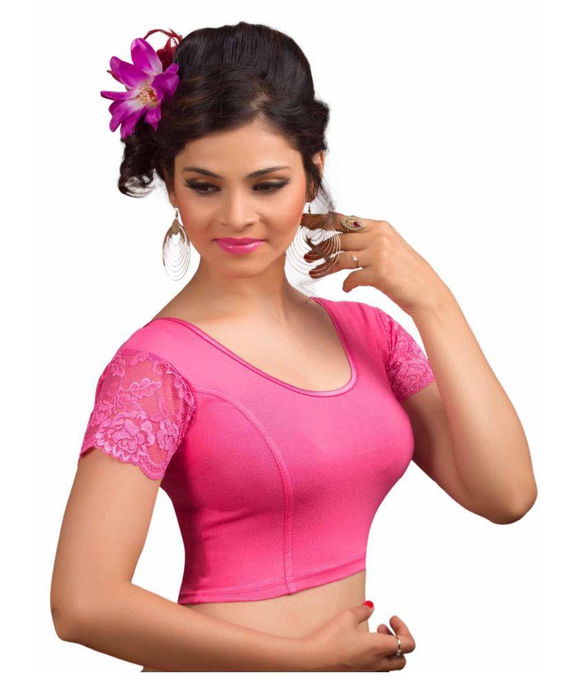 Salwar Studio Pink Lycra Readymade without Pad Blouse