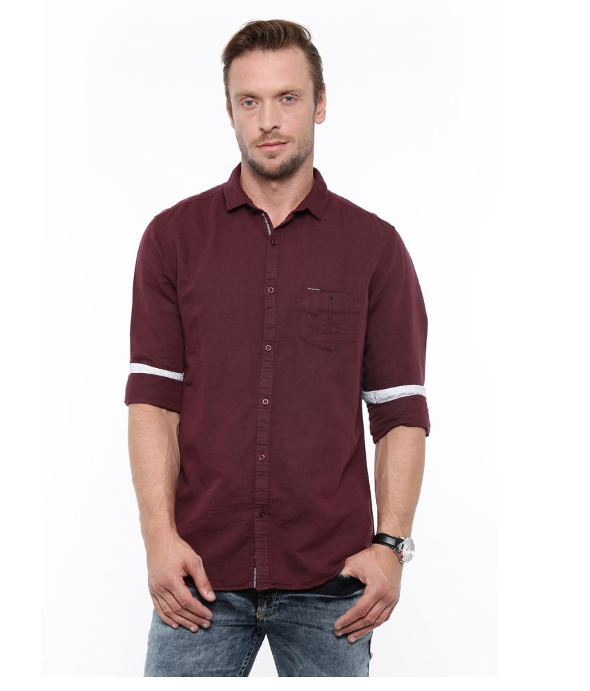 WITH Maroon Casual Slim Fit Shirt