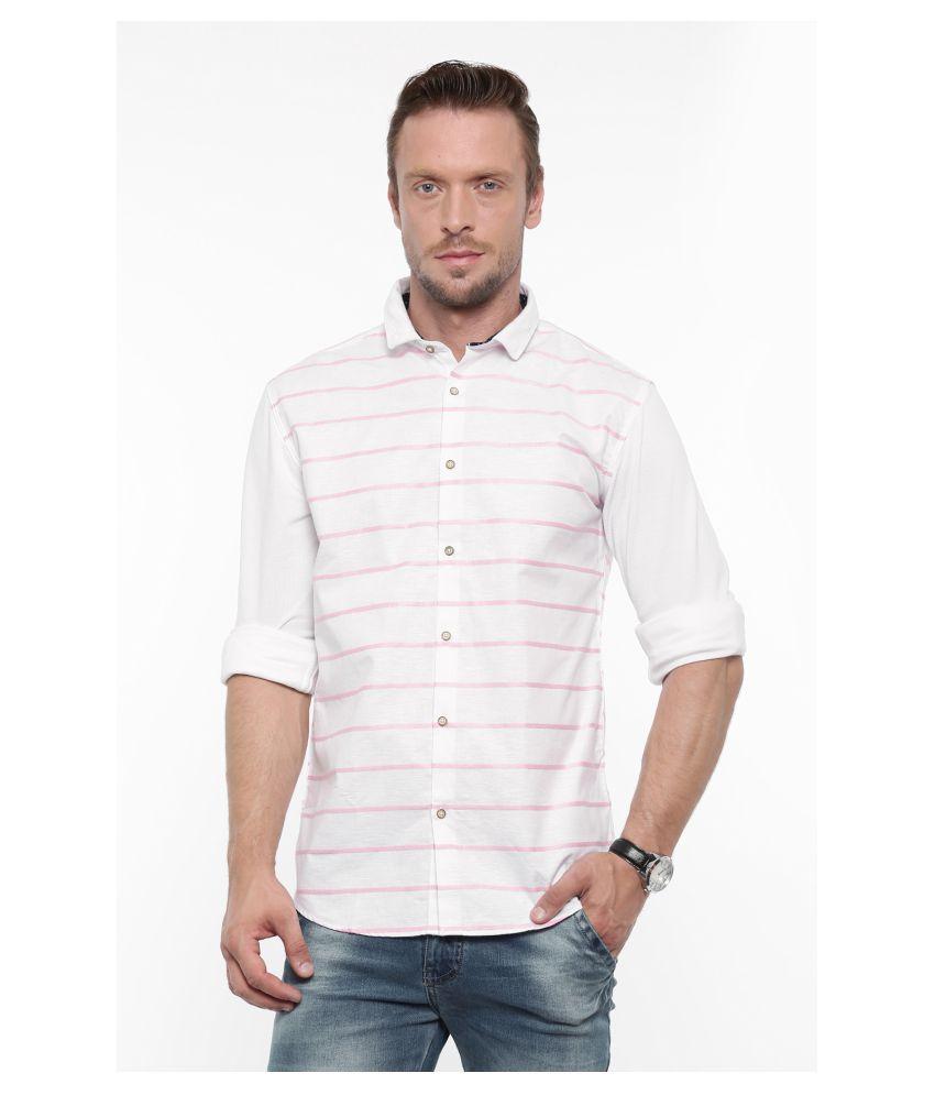 Showoff Pink Casual Slim Fit Shirt