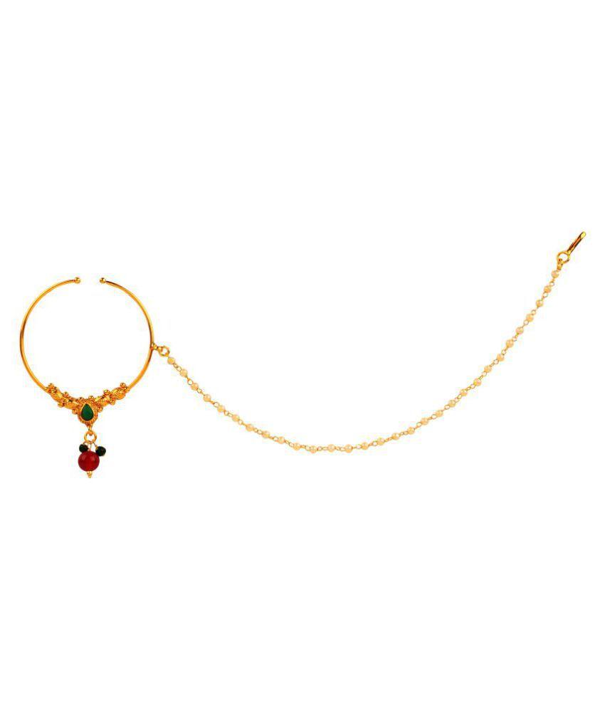 Lalso Multicolour Big Size Pearl Chain Bridal Nose Ring Pin Buy Lalso Multicolour Big Size Pearl Chain Bridal Nose Ring Pin Online In India On Snapdeal
