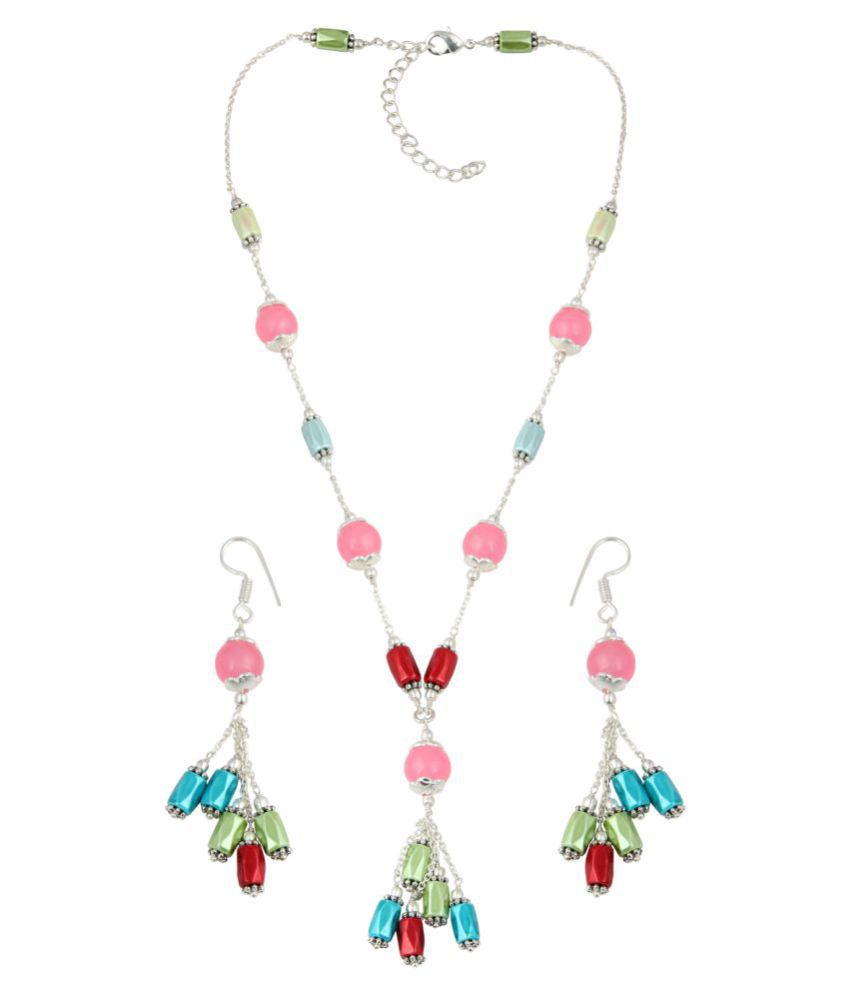 Pearlz Gallery Multi Hematite And Hot Pink Jade Desgined For Womens And Girls In Round And Faceted Cut Round Tube Necklace With Gorgeous Earring