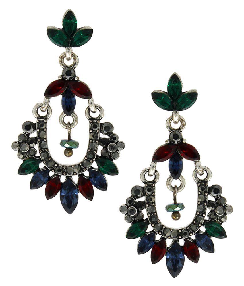 Anuradha Art Silver Finish Studded Mutli Colour Stone Party Wear Fancy Long Earrings For Women/Girls