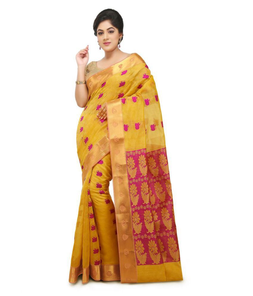 ed6373e27d Platinum Yellow and Brown Cotton Silk Saree - Buy Platinum Yellow and Brown Cotton  Silk Saree Online at Low Price - Snapdeal.com