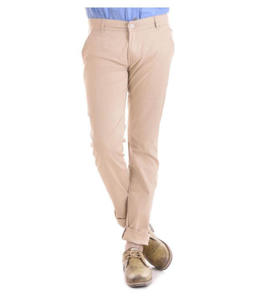 KALVIA White Regular -Fit Flat Chinos