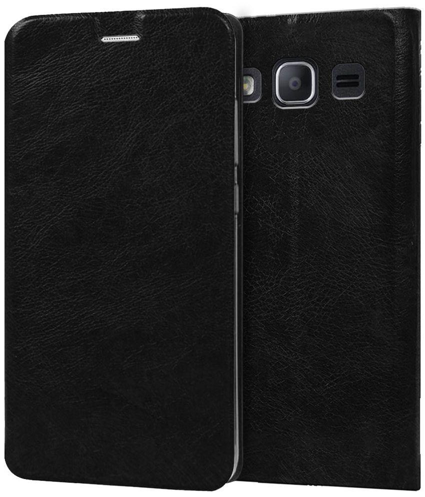 Samsung Galaxy J2 Ace Flip Cover by Knotyy - Black