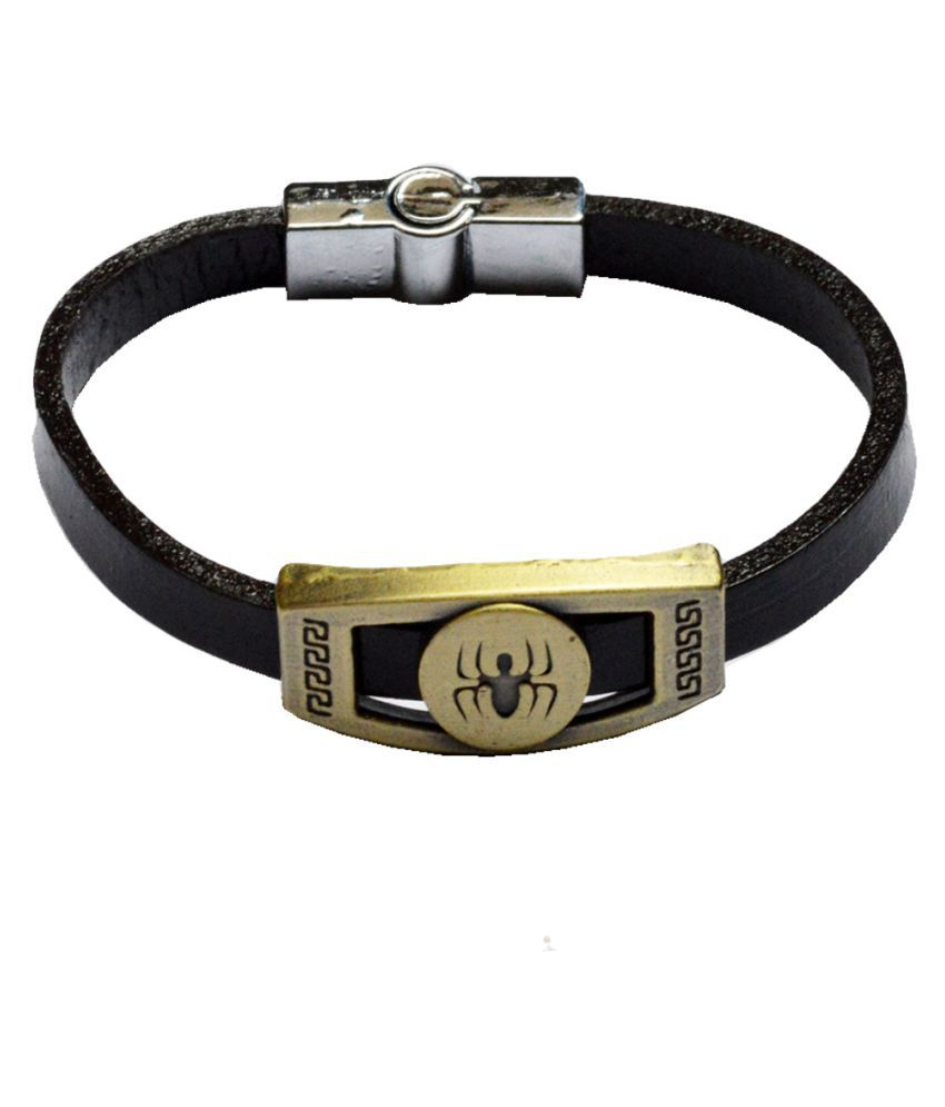Men Style Best Gift Stylish Mens Scorpio Symbol With Interlocking Steel  Clasp Black and Gold  Leather and Bronze Bracelet For Men and Boys