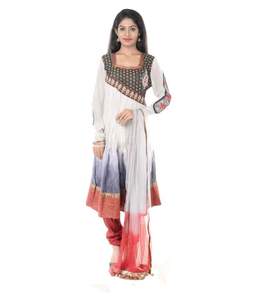 Six Degrees Multicoloured Georgette Anarkali Stitched Suit