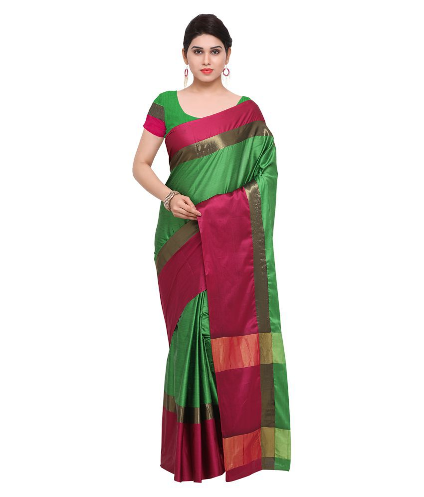 Apple Creation Green and Red Art Silk Saree