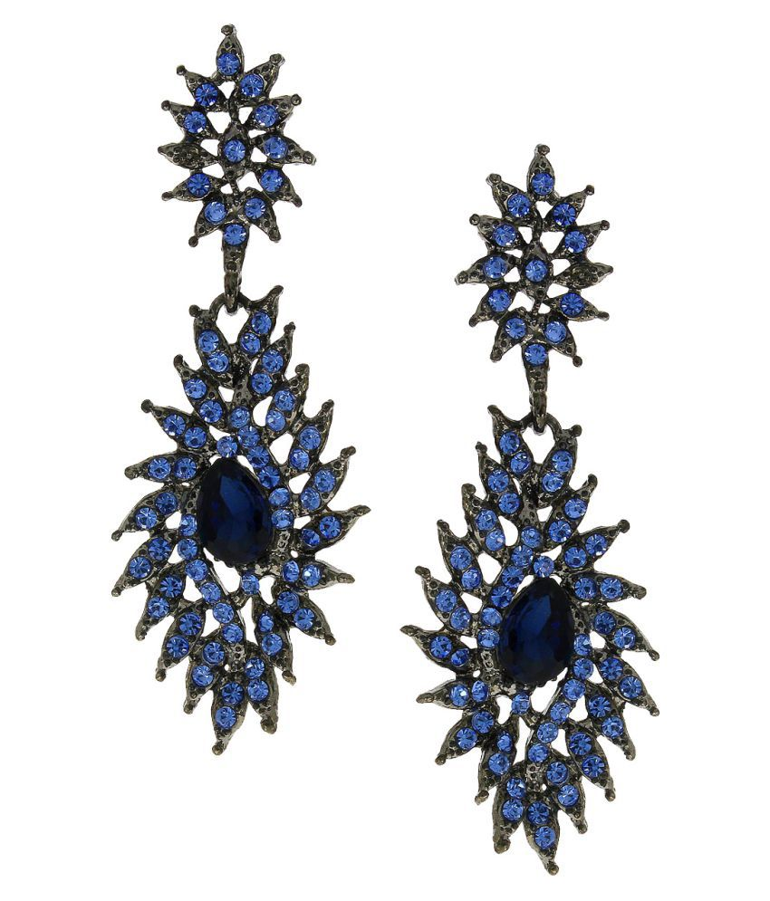 Anuradha Art Blue Colour Studded Shimmering Stone Party Wear Fancy Long Earrings For Women/Girls