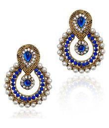 Penny Jewels Oxidized Pearls Non-Precious Stylish Funky Chandbali Earrings Set For Women & Girls