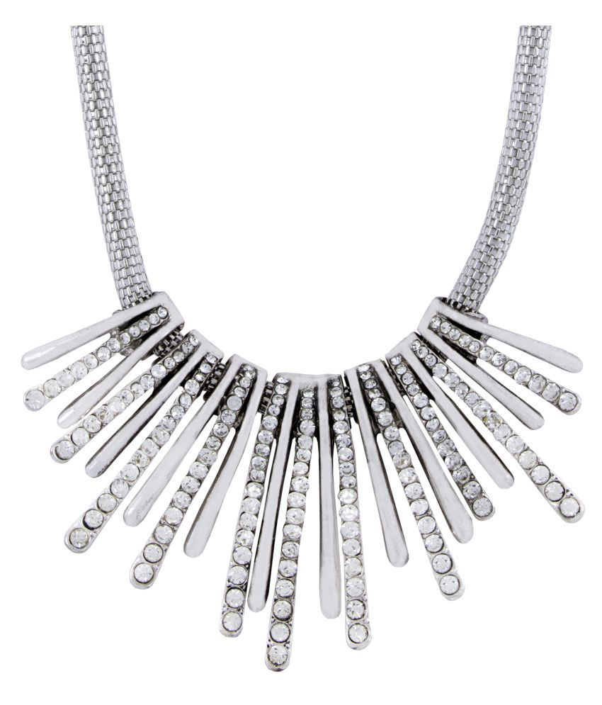 The Jewelbox Tribal Oxidized Antique Silver Plated CZ American Diamond Necklace for Girls Women