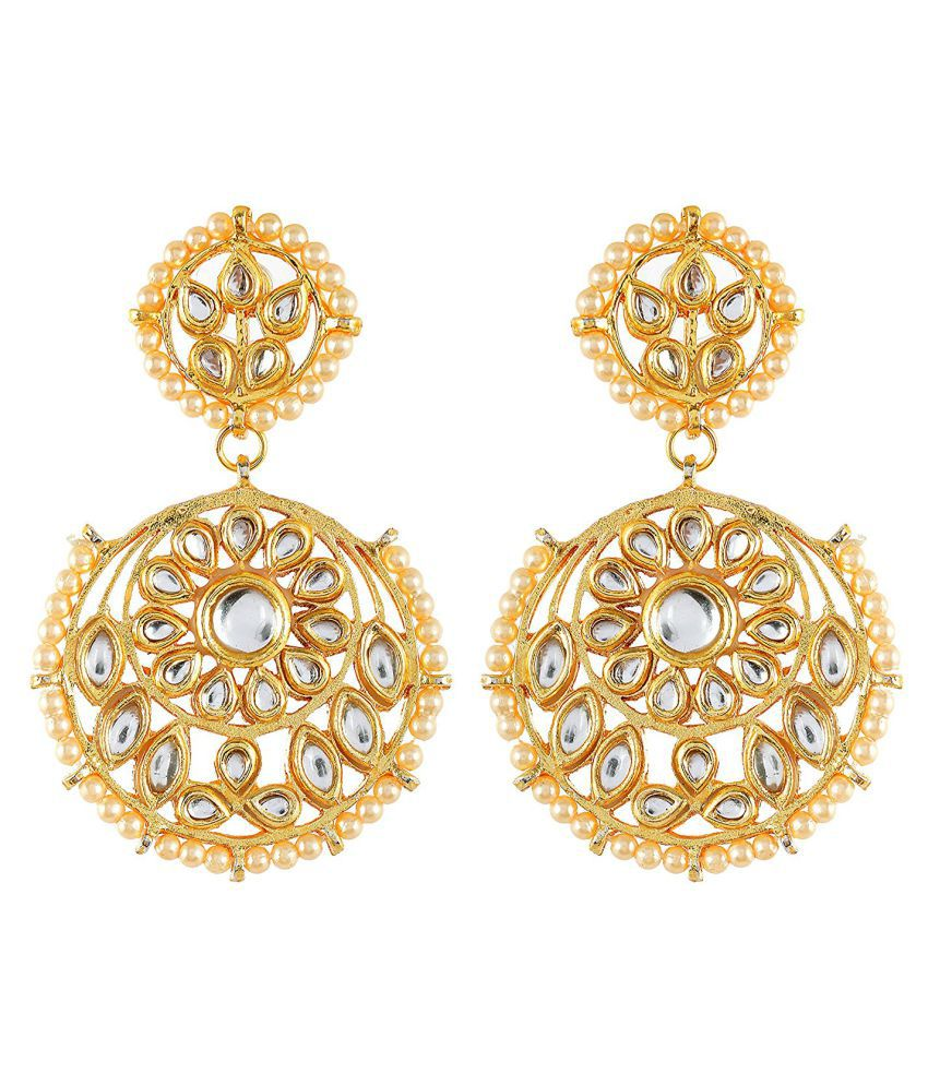 Floral Kundan Meena Stylish Desginer Dangler Earring For Girls / Women
