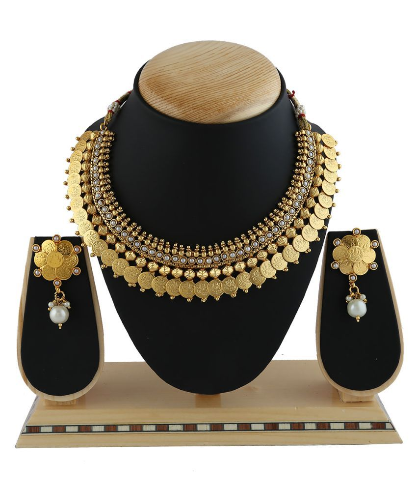 Anuradha Art Golden Finish Coin Styled Wonderful Traditional Necklace Set For Women/Girls