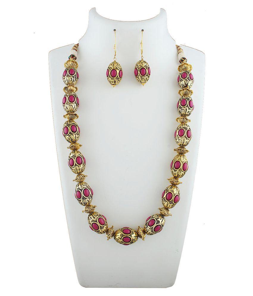 Anuradha Art Golden Finish Oval Shape Designer Traditional Necklace Set For Women/Girls