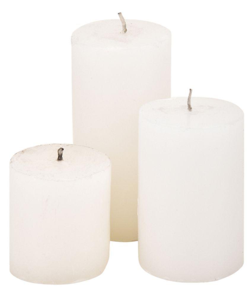 Creative Studioz White Pillar Candle - Pack of 1