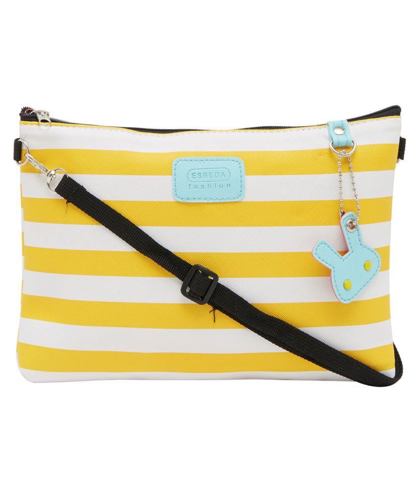 ESBEDA Yellow Nylon Sling Bag