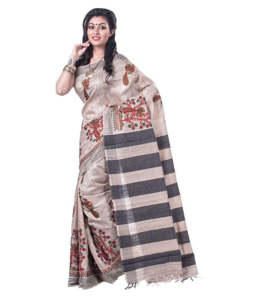 Silk Ghar Grey Bhagalpuri Silk Saree