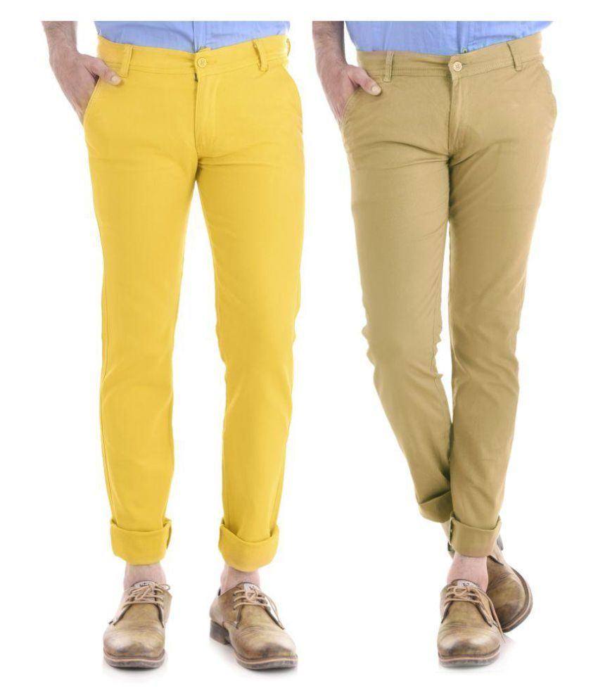 KALVIA Beige Regular -Fit Flat Trousers