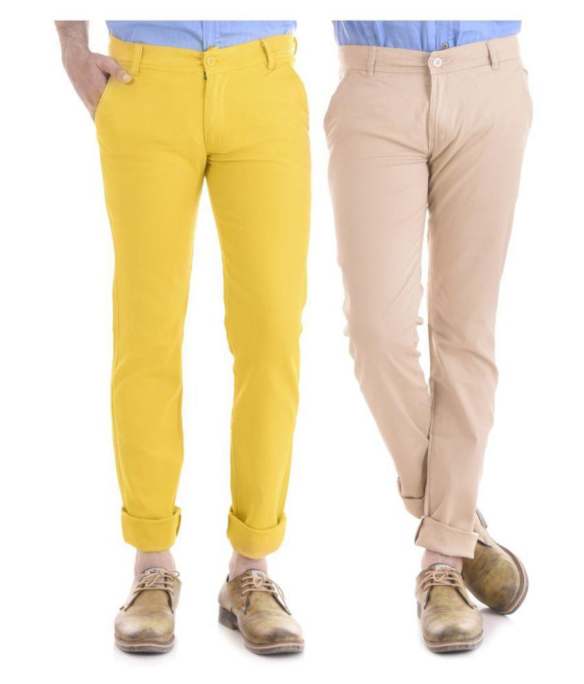 KALVIA Yellow Regular -Fit Flat Trousers
