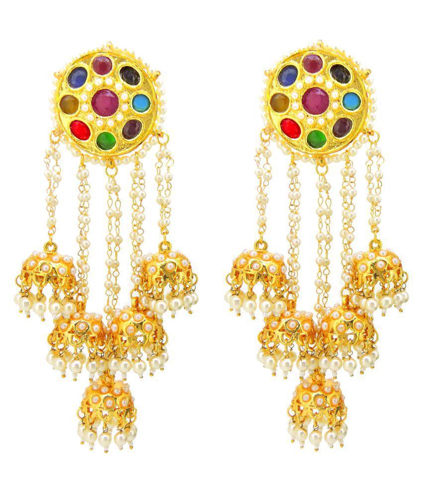 Traditional Kundan Meena Colored Stones Desginer Stylish Party Wear Jhumki / Jhumka Earring For Girls / Women