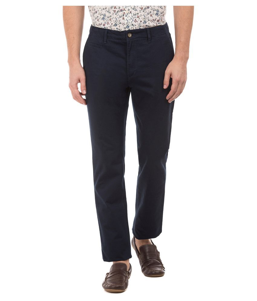 U.S. Polo Assn. Navy Blue Slim -Fit Flat Trousers