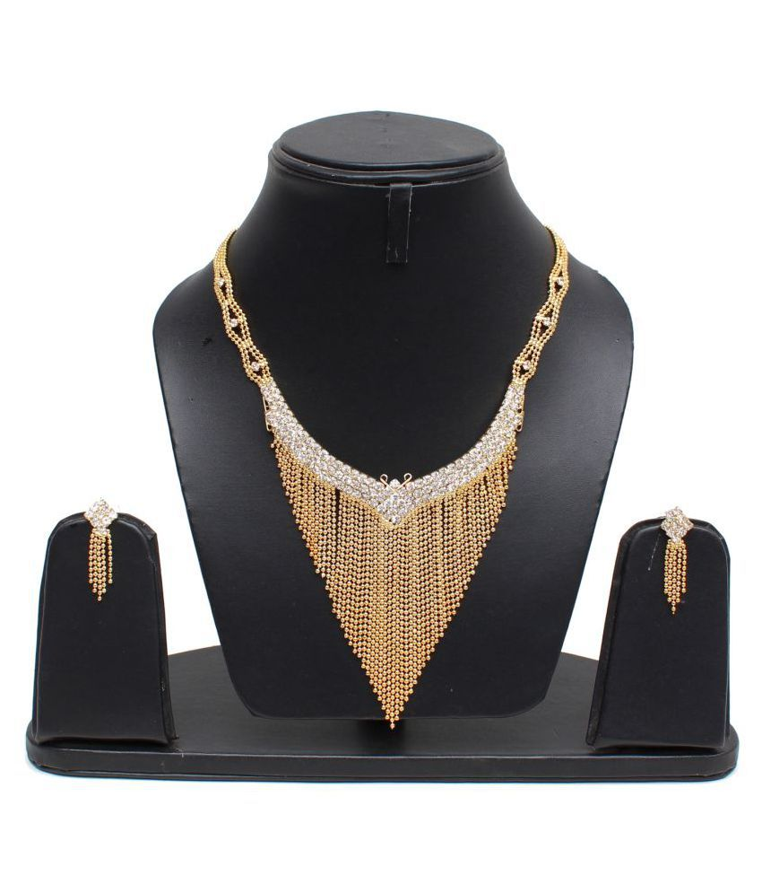 Lucky Jewellery Gold Plated Maroon Partywear Necklace Set