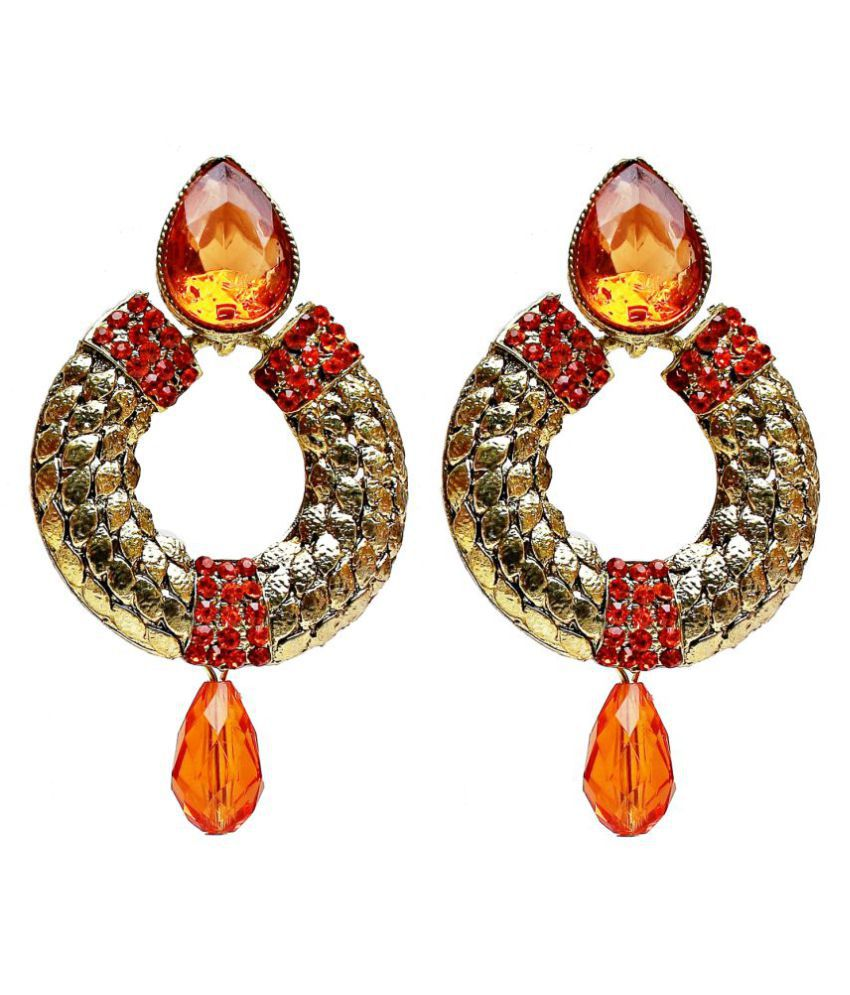 Lucky Jewellery Gold Tone Designer Orange Stone Partywear Earring